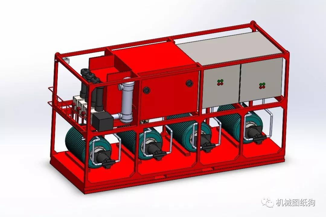 【工程机械】液压动力单元3d模型图纸 solidworks设计