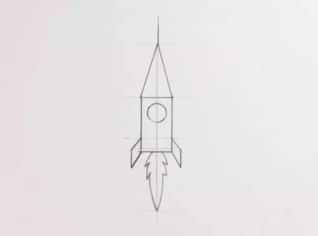 简笔画 用三角形和长方形组合 火箭