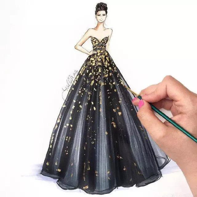 仙女系礼服设计图手绘