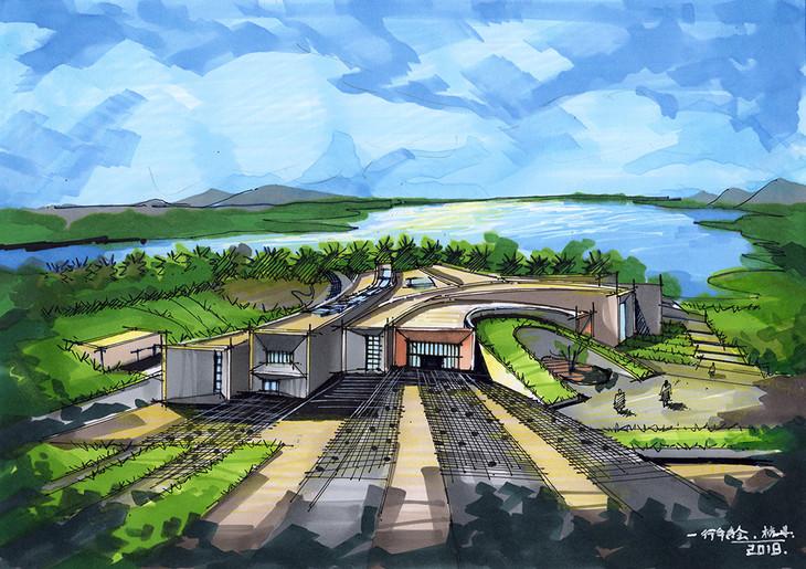天颐湖儿童体验城建筑手绘青岛手绘培训_一行手绘