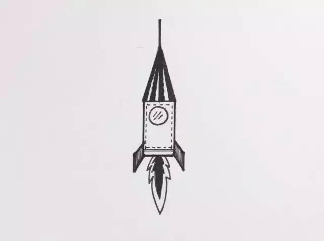 简笔画 | 用三角形和长方形组合—火箭图片