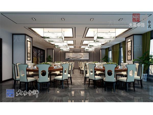 新中式餐厅设计采用祥云为墙景清新舒雅的装修效果
