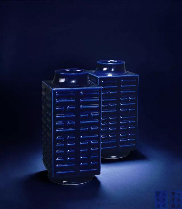 清咸丰 祭蓝釉琮式瓶