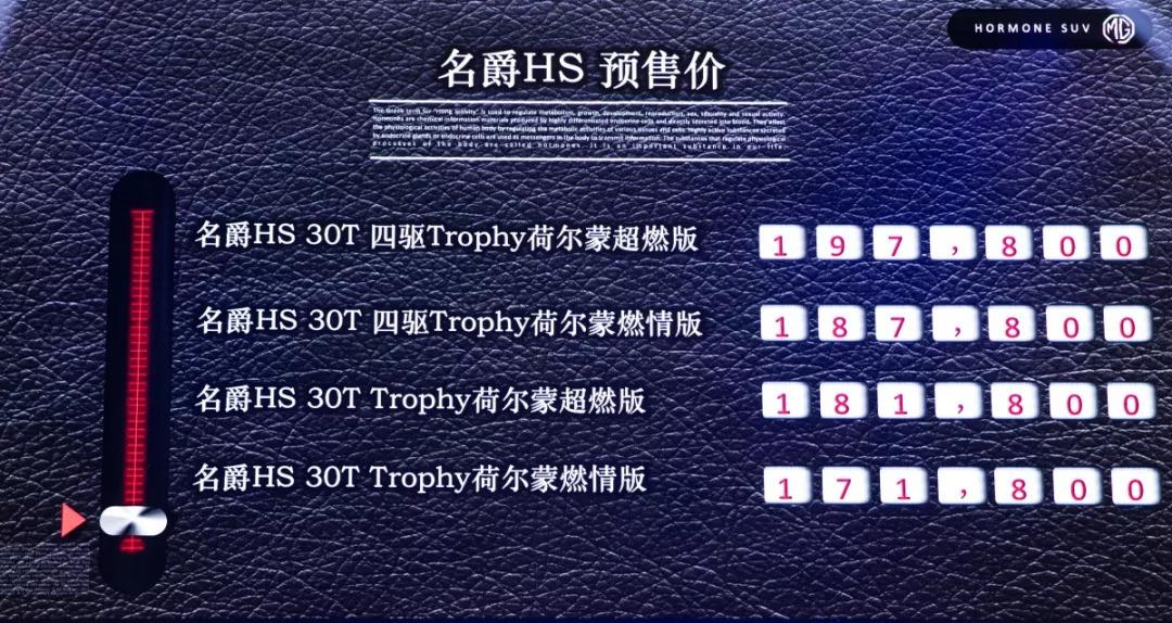 新车   名爵HS 30T车型预售价公布 17.18万元起   Y车评