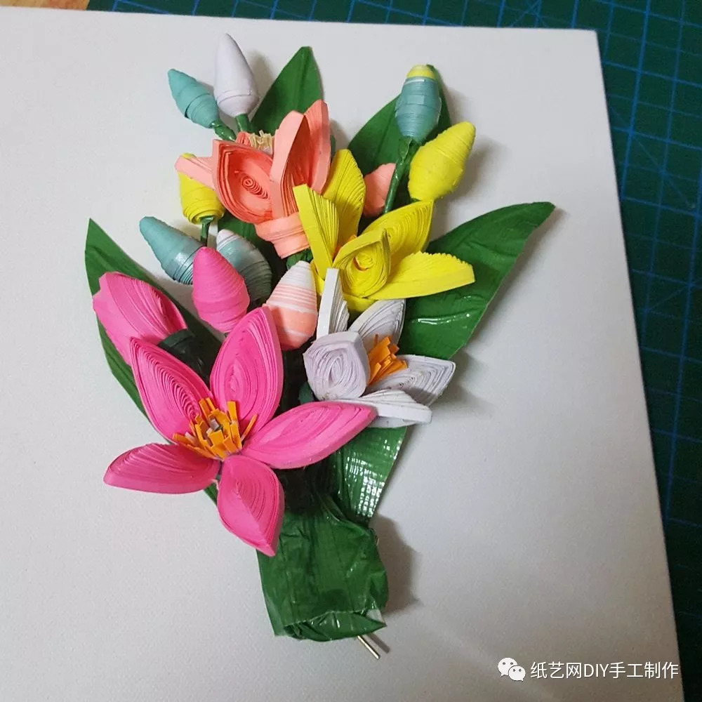 超美的衍纸立体花束!详细图解教程!