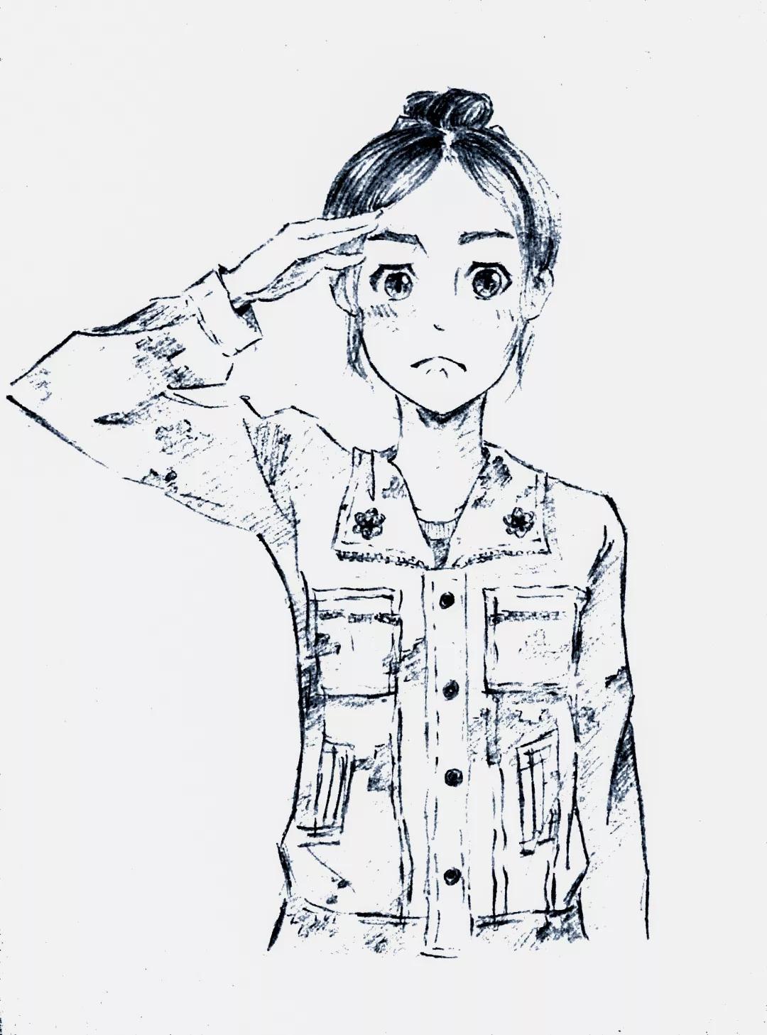 军训学生手绘图