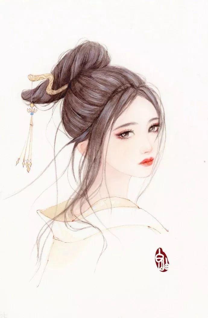 超级腻害的古风少女手绘插画,看完美得让人过目不忘