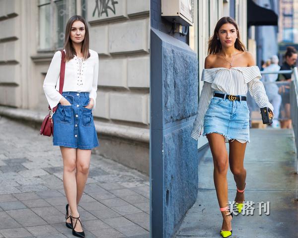 衬衫+牛仔半裙,这样时髦减龄的穿搭很适合通勤的小仙女