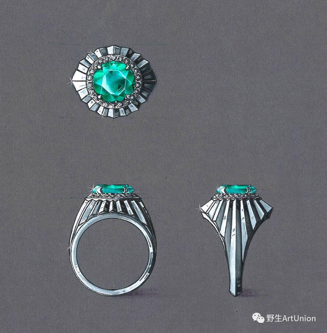 珠宝首饰手绘图合集礼包 颈饰 耳饰 戒指 手环 胸针 套件 金属着色等高清效果图1000款免费拿