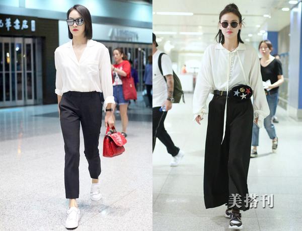 像潮人们学习休闲白衬衫的穿搭,看着更加的时髦高级