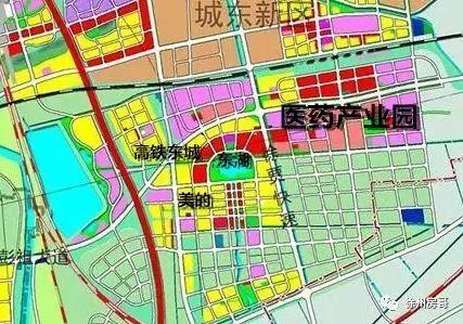 徐州城市总体规划图 放大看东湖新城部分 黄色的是住宅用地,红色的是