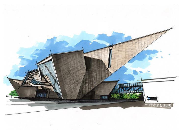 丹弗美术馆建筑手绘临摹图含马克青岛手绘培训_一行手绘