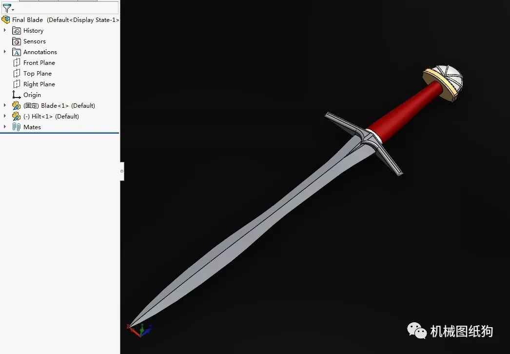 【武器模型】claymore宝剑模型3d图纸 solidworks设计