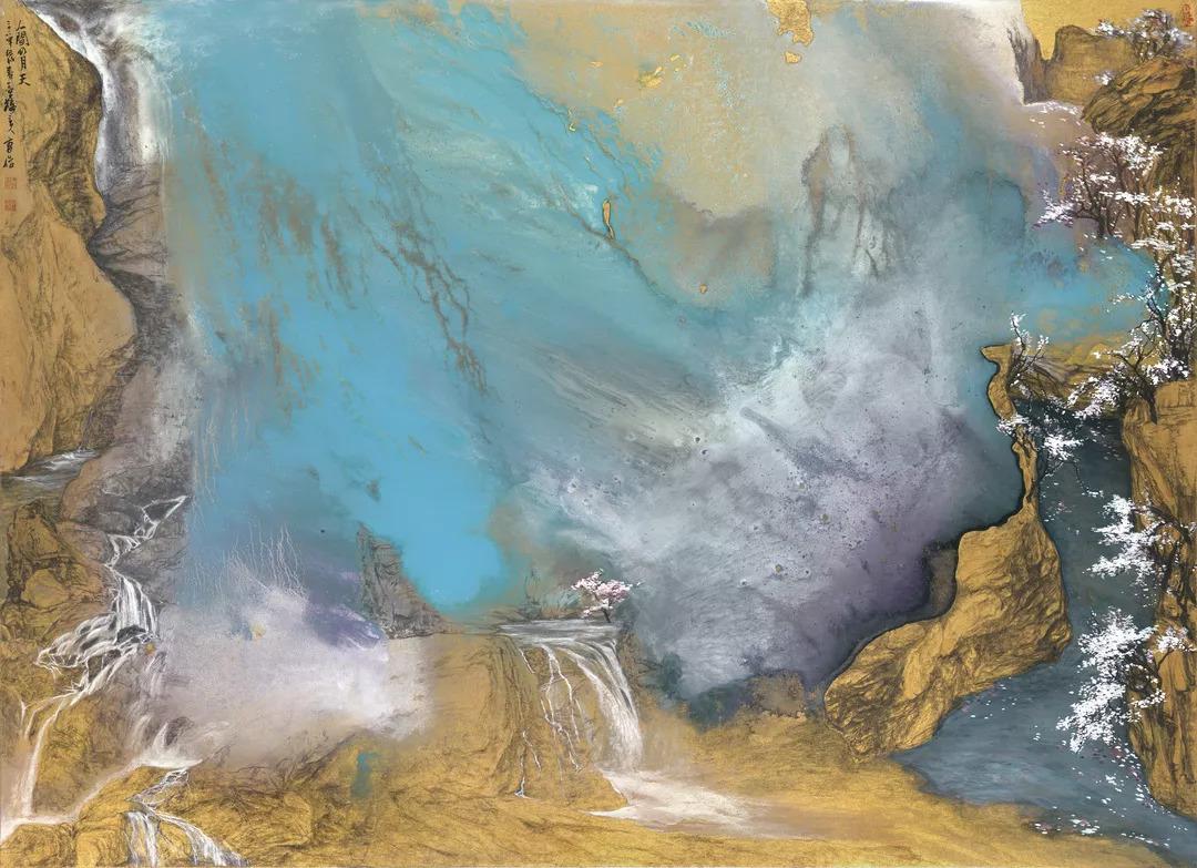 让他在山水,花卉的表现上独具新意——  结合中西方绘画的表现方式