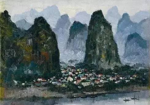 """白雪石的作品有""""桂林山水甲天下,白派山水甲桂林""""的美誉.图片"""