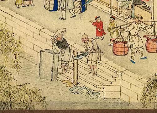 阿婆阿伯在河边洗衣服