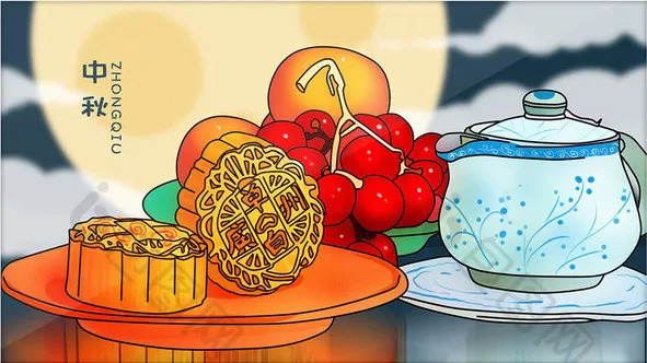 儿童手工制作月饼贴画