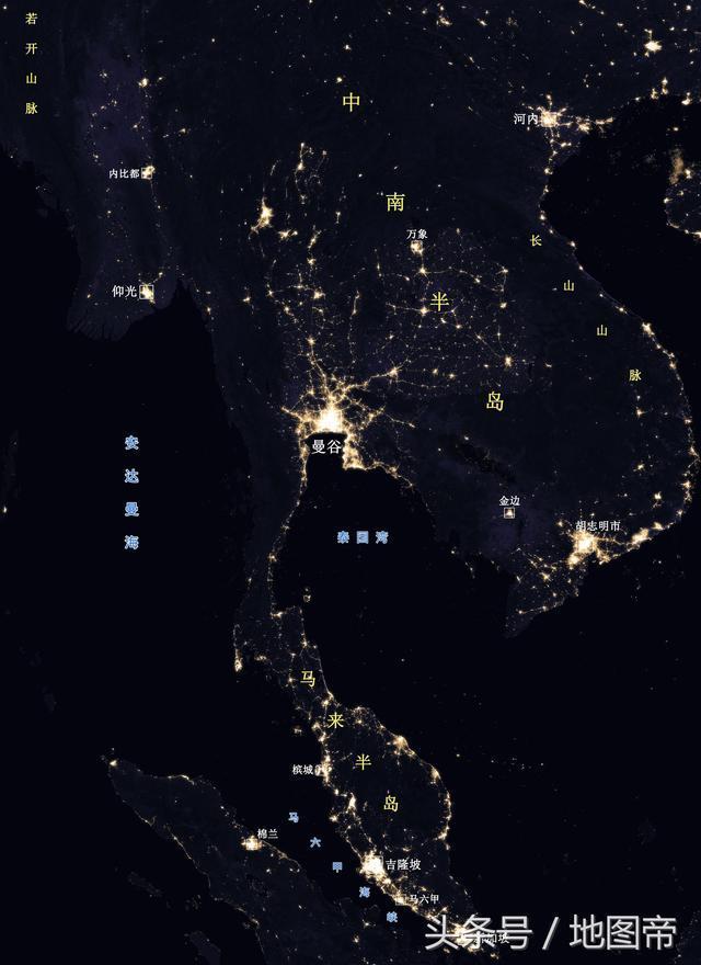 看夜光图才知道,泰国曼谷是中南半岛最繁华的城市