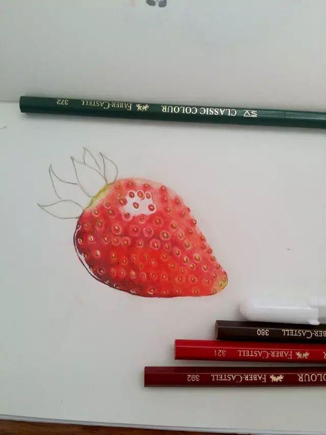 手绘插画教程   用彩铅画一个超想吃的奶油草莓