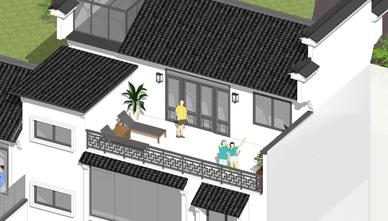 江西新中式别墅马头墙现江南风光,传统厨房加车库,46万贵吗