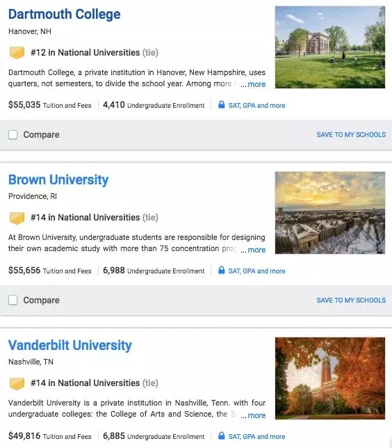2019全美大学排行_U.S News2019全美大学排名最新出炉