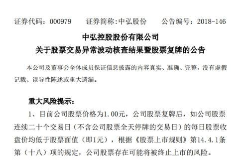 """中弘股份1块钱""""生死时速"""":逾期巨债51亿 明天要复牌"""