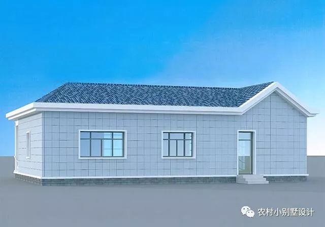 一层设计:客厅、餐厅、厨房、卫生间、卧室x4(其中1个卧室带卫生间);   一层农村别墅   第七款:   正面-农村一层房屋设计图15米x12米建筑面积110平米单层别墅   本户型为140平一层平房别墅设计图,户型以实用为主,外观配色适合农村自建,漂亮