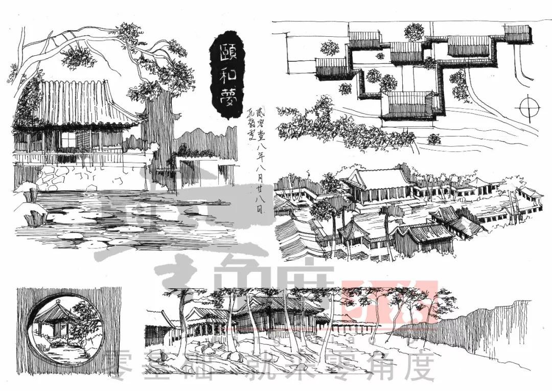 ④  鸟瞰图手绘表现 ⑤  古建筑 写生创新思维讲授 ⑥  马克笔上色