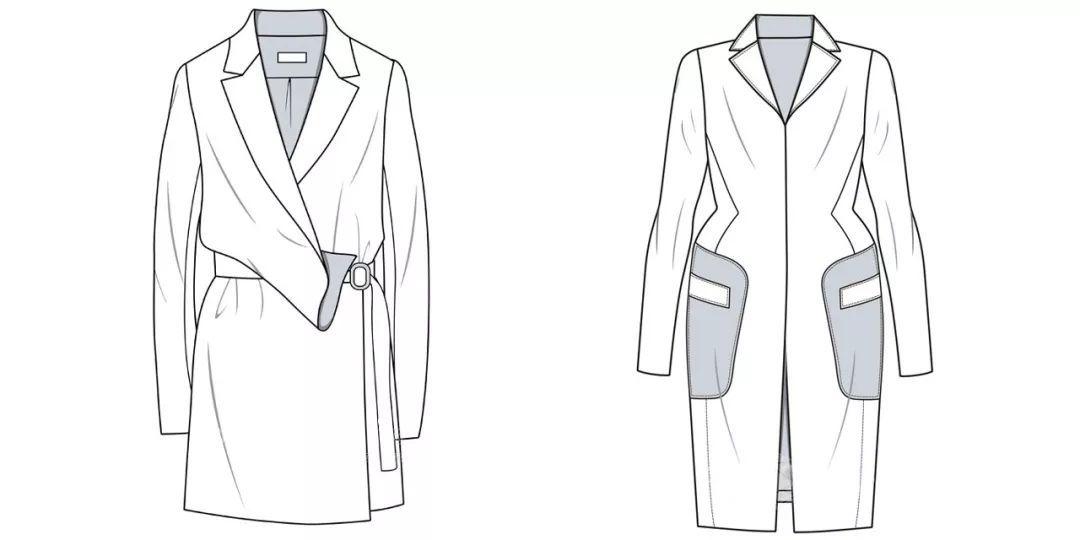 女装款式图合集礼包 | 女士风衣,小外套,西装,衬衫,羽绒服,针织毛衫,t