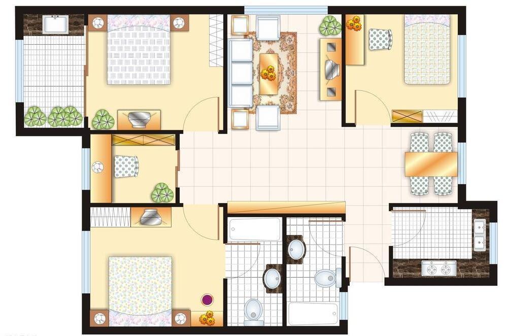 2房一厅平面设计图
