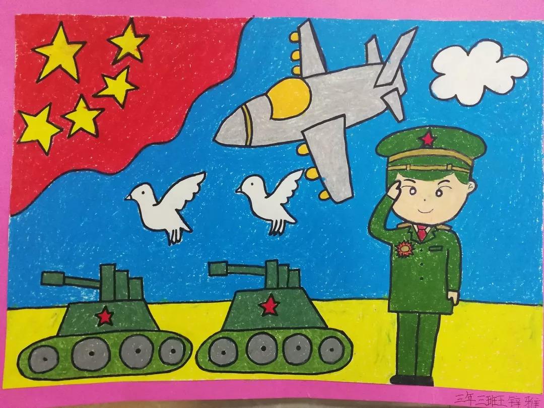 阅兵绘画作品_绘画作品围绕国防教育的具体内容,既反映了国庆阅兵的宏大场面,也赞颂