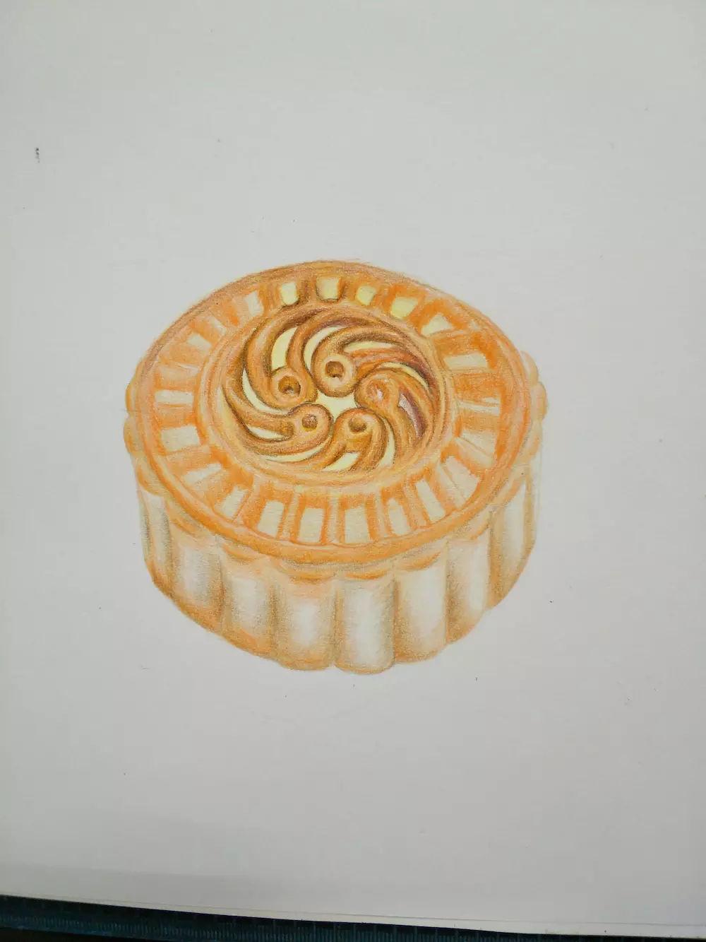 零基础学彩铅第23课:中秋月饼彩铅手绘过程分享