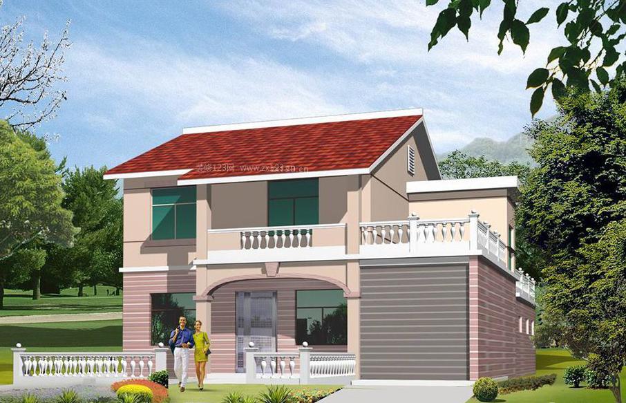农村一层半实用型房子设计图,占地90平米造价8万9图片