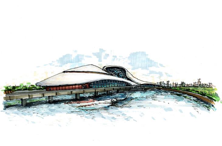 哈尔滨大剧院建筑手绘临摹图带步骤带马克广州手绘培训一行手绘