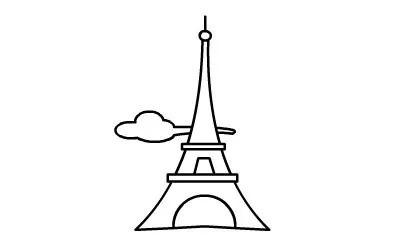 简笔画埃菲尔铁塔画法,简笔画动画教程之埃菲尔铁塔的绘画分解步骤