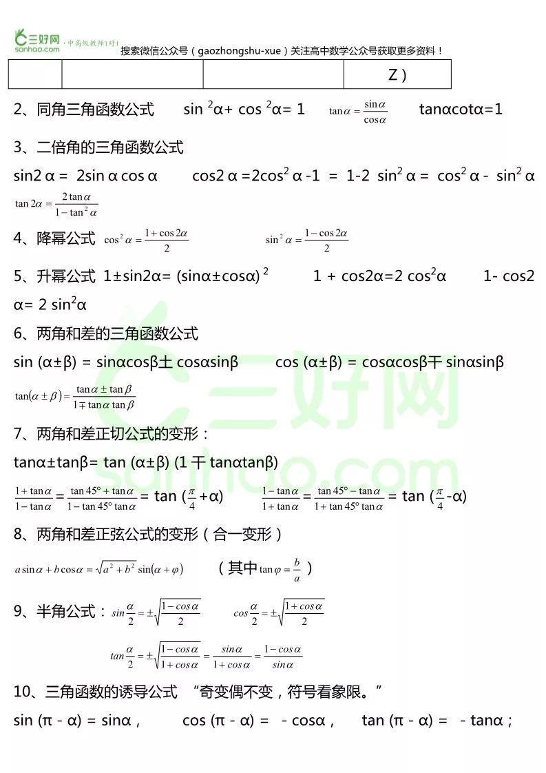 干货丨高中数学必修四常识点定理大汇总,提议保藏!!(责编保举:数学课件jxfudao.com/xuesheng)