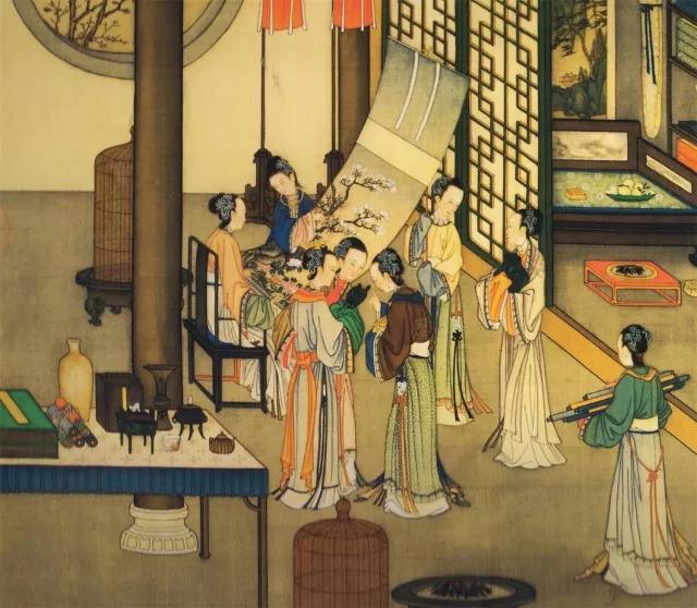 中国清代女子头手绘