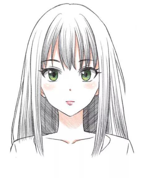 绘画教程 | 好看又简单的彩铅画,动漫人物发型