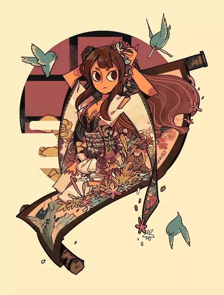 结合插画师丰富的想象力 整幅画作就充满了浓郁的漫画色彩 哪里可爱