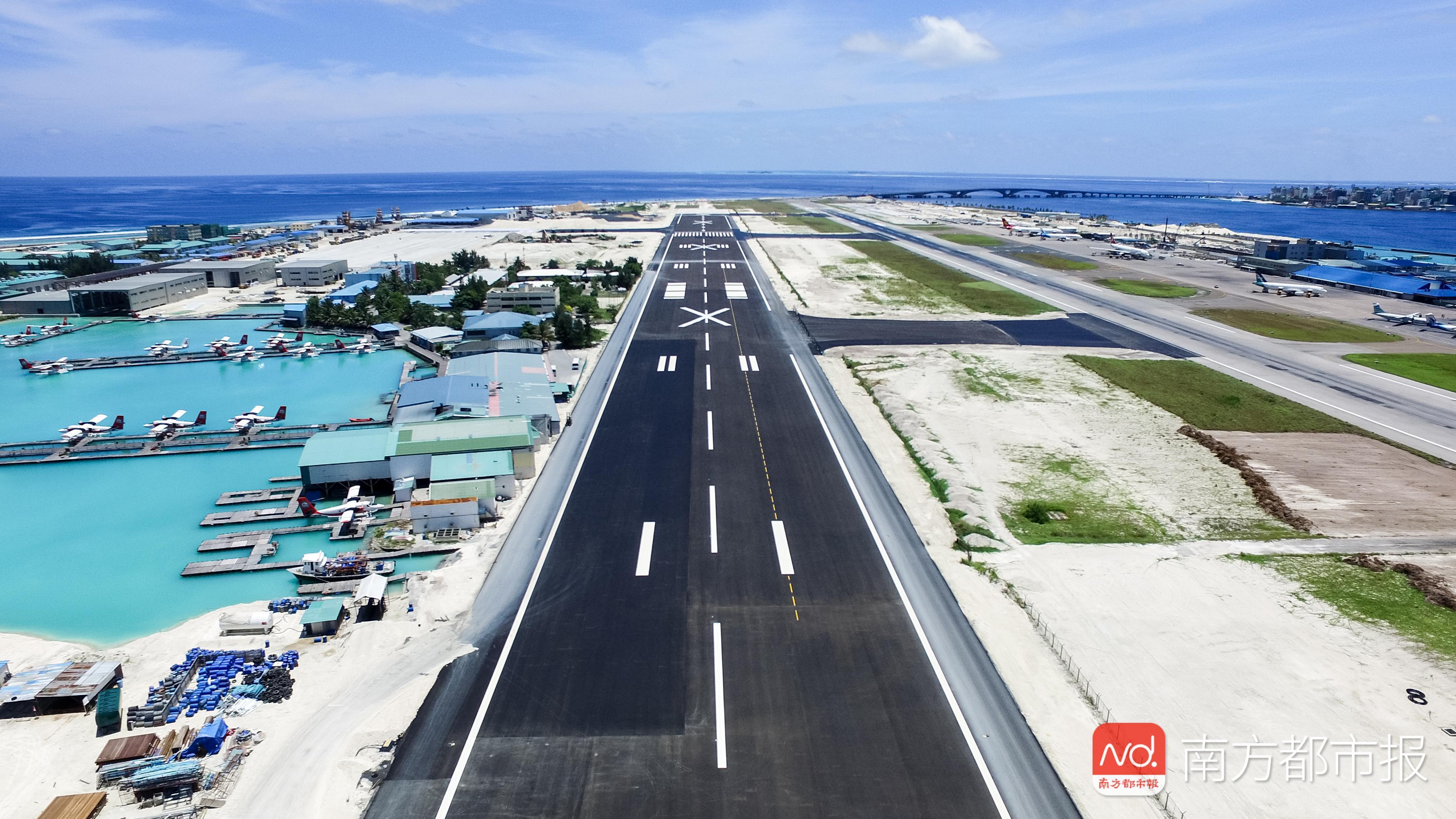 颜值再涨——马尔代夫国际机场新跑道试飞,中企建的!