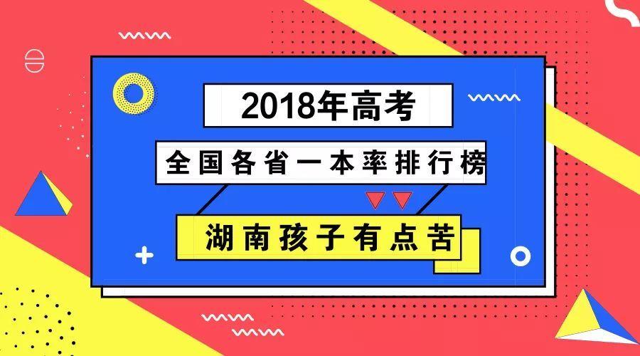 """2018年高考全国各省""""一本率""""排行榜发布!排名中后段的湖南孩子有点苦"""