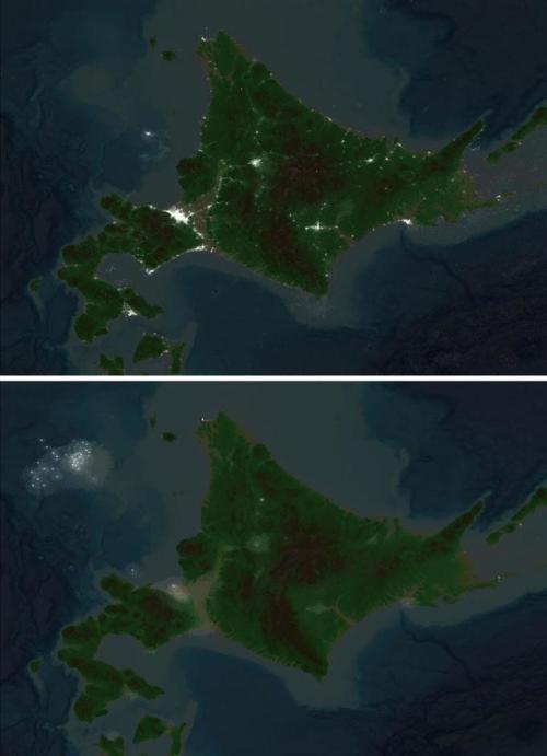 从谷歌卫星地图上看北海道停电前和停电后(图片来源:产经新闻)