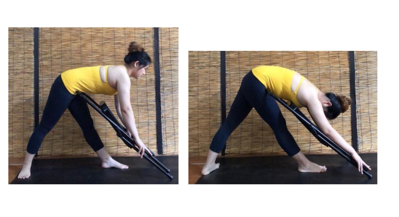 在高温里这个瑜伽体式,向下折叠采用的是弓背尽量头触膝.图片