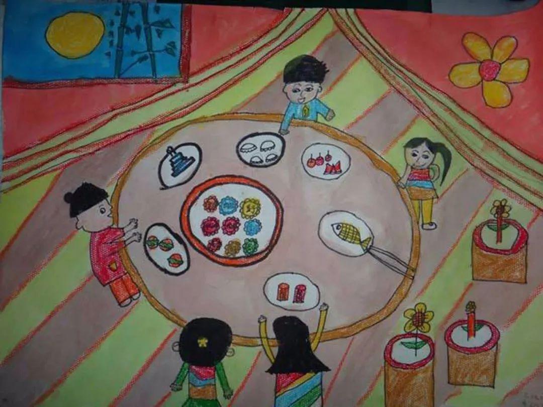中秋节创意儿童画 中秋节团圆饭图片