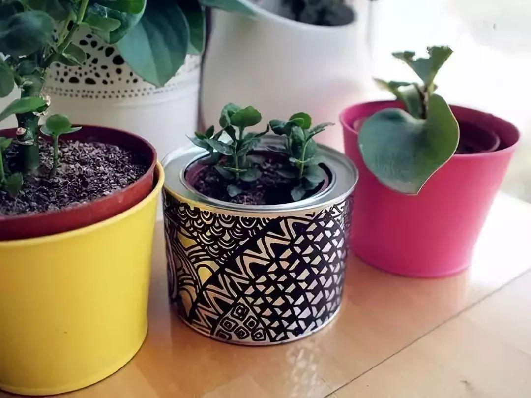 按你喜欢的颜色顺序依次开始缠绕吧~ 奶粉罐花盆改造 diy手工制作小