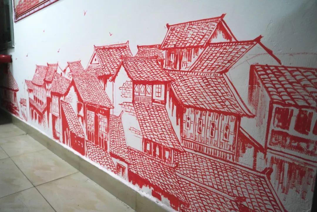 还有特色的剪纸主题楼道