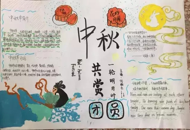 手抄报丨中秋节手抄报图片素材\模板\文字.为孩子