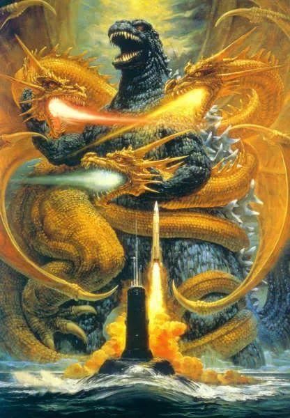 在第三部[哥斯拉:噬星者]中,哥斯拉将对阵强敌王者基多拉.