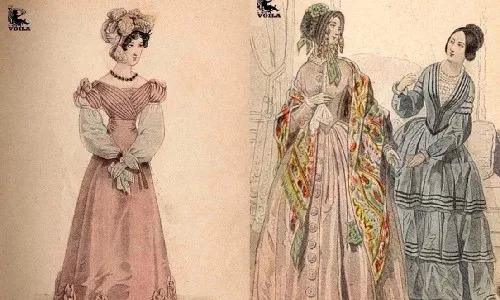 ▲19世紀的女性裝束