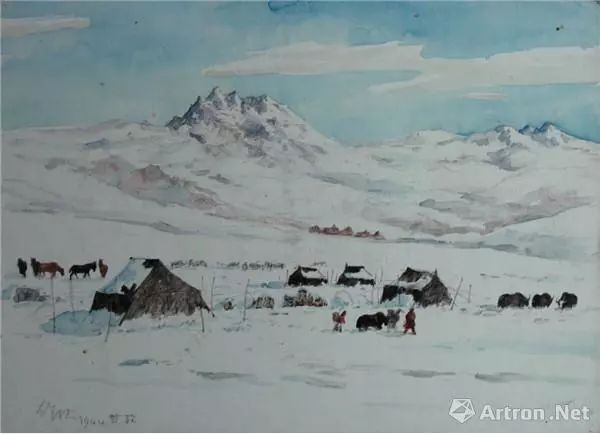 甘孜市场之雪 吴作人 水彩 28×39 1944 中国美术馆藏图片